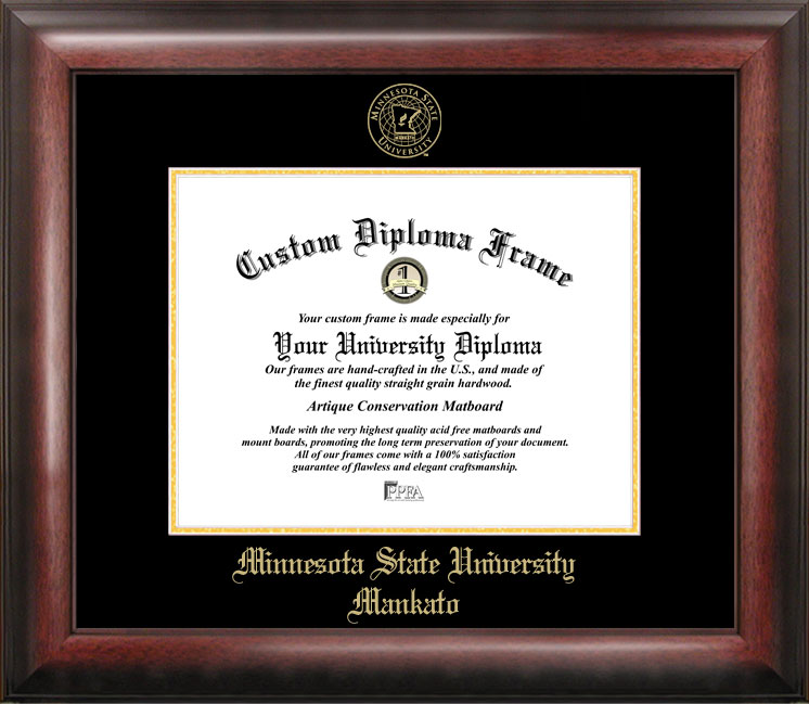 Minnesota State University Mankato Gold Embossed Diploma Frame