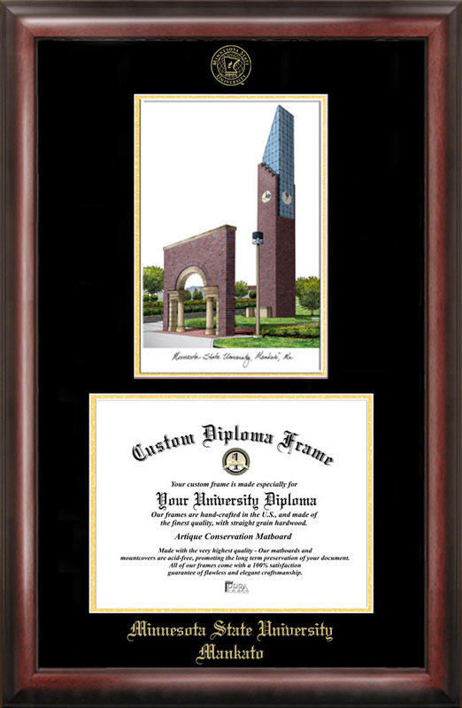Minnesota State University Mankato Gold embossed diploma frame with Campus Images lithograph