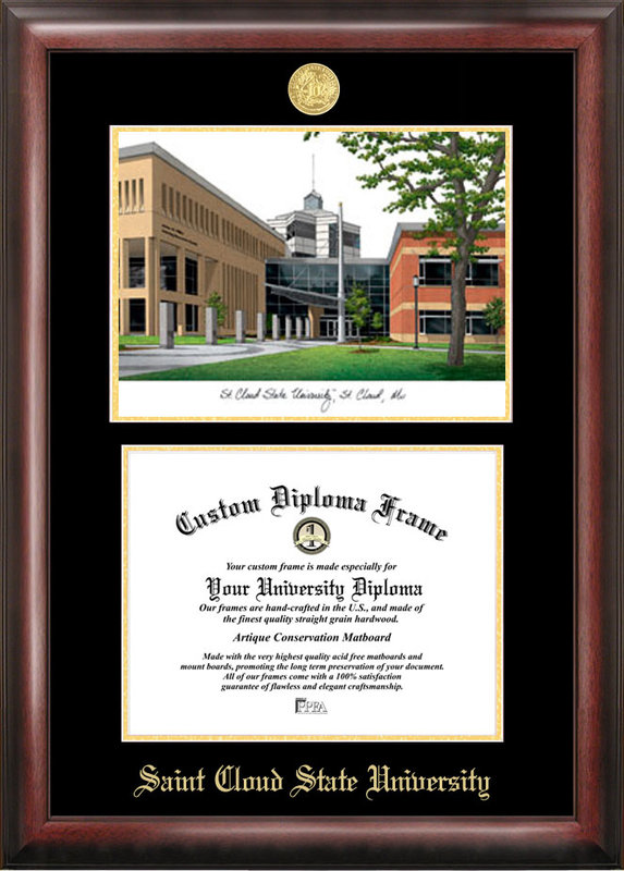 St. Cloud State Gold embossed diploma frame with Campus Images lithograph