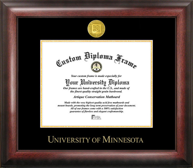 University of Minnesota Gold Embossed Diploma Frame