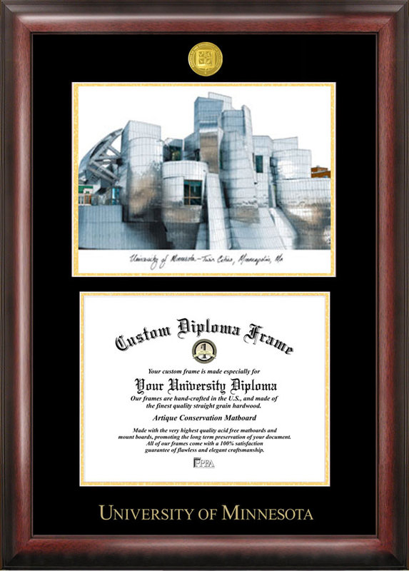 University of Minnesota Gold embossed diploma frame with Campus Images lithograph