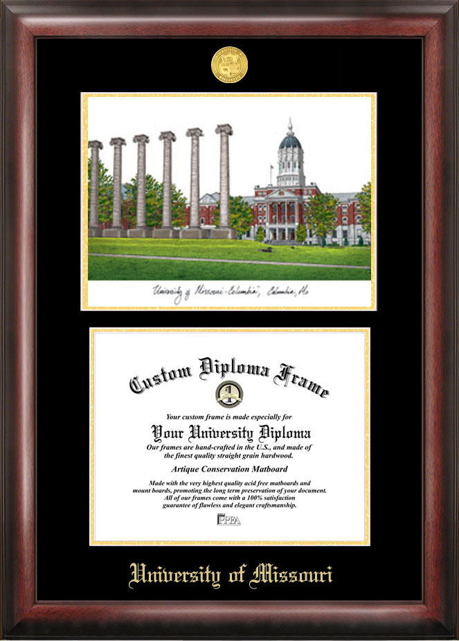University of Missouri Gold embossed diploma frame with Campus Images lithograph
