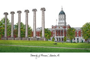 University of Missouri Campus Images Lithograph Print