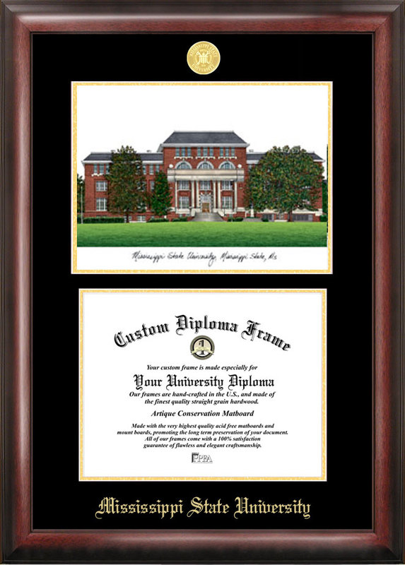 Mississippi State Gold embossed diploma frame with Campus Images lithograph