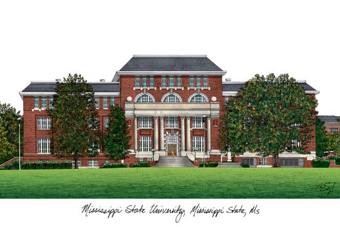 Mississippi State Campus Images Lithograph Print