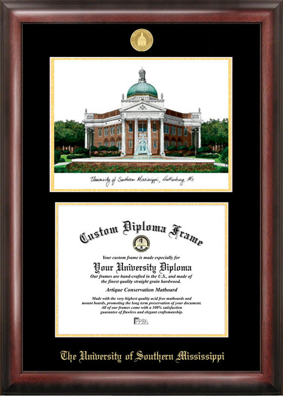 Southern Mississippi Gold embossed diploma frame with Campus Images lithograph