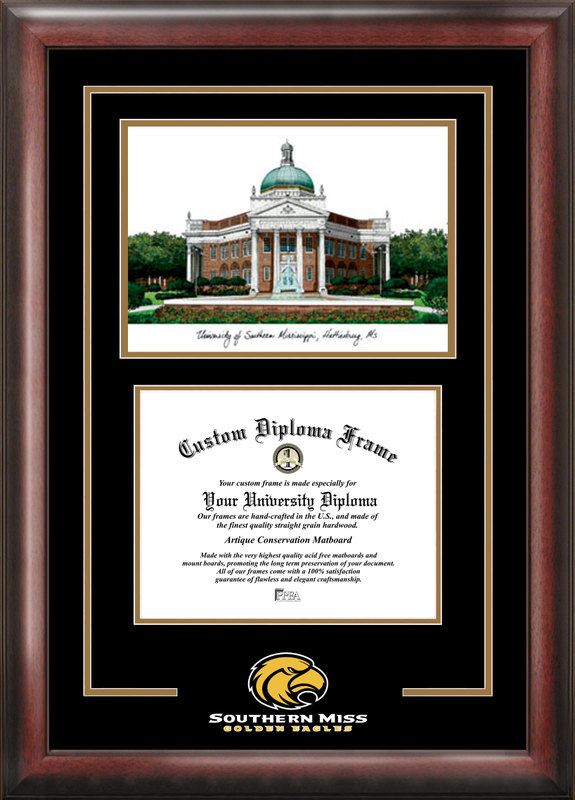 Southern Mississippi Spirit Graduate Frame with Campus Image