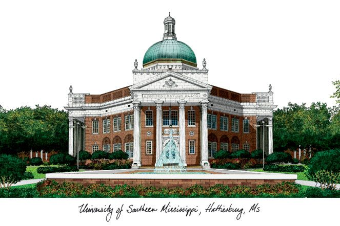 Southern Mississippi Campus Images Lithograph Print