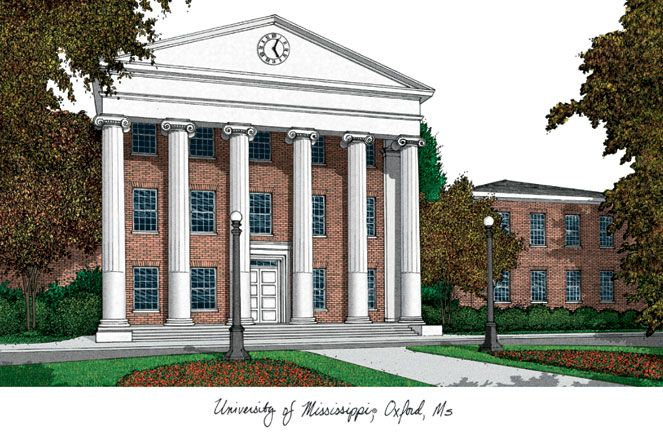 University of Mississippi Campus Images Lithograph Print