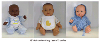 Doll Clothes Set Of 3 Boy Outfits - MTB1301 - MTB1301