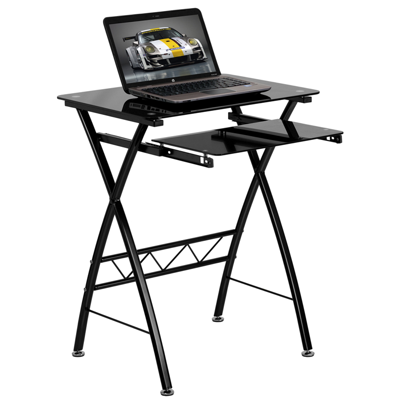 Black Tempered Glass Computer Desk with Pull-Out Keyboard