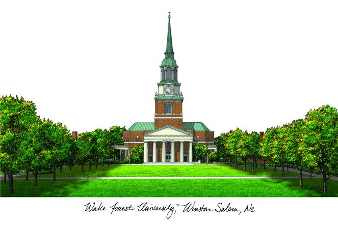 Wake Forest University Campus Images Lithograph Print