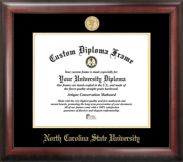 North Carolina State University Gold Embossed Diploma Frame
