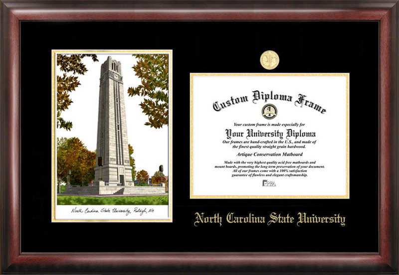 North Carolina State University Gold embossed diploma frame with Campus Images lithograph