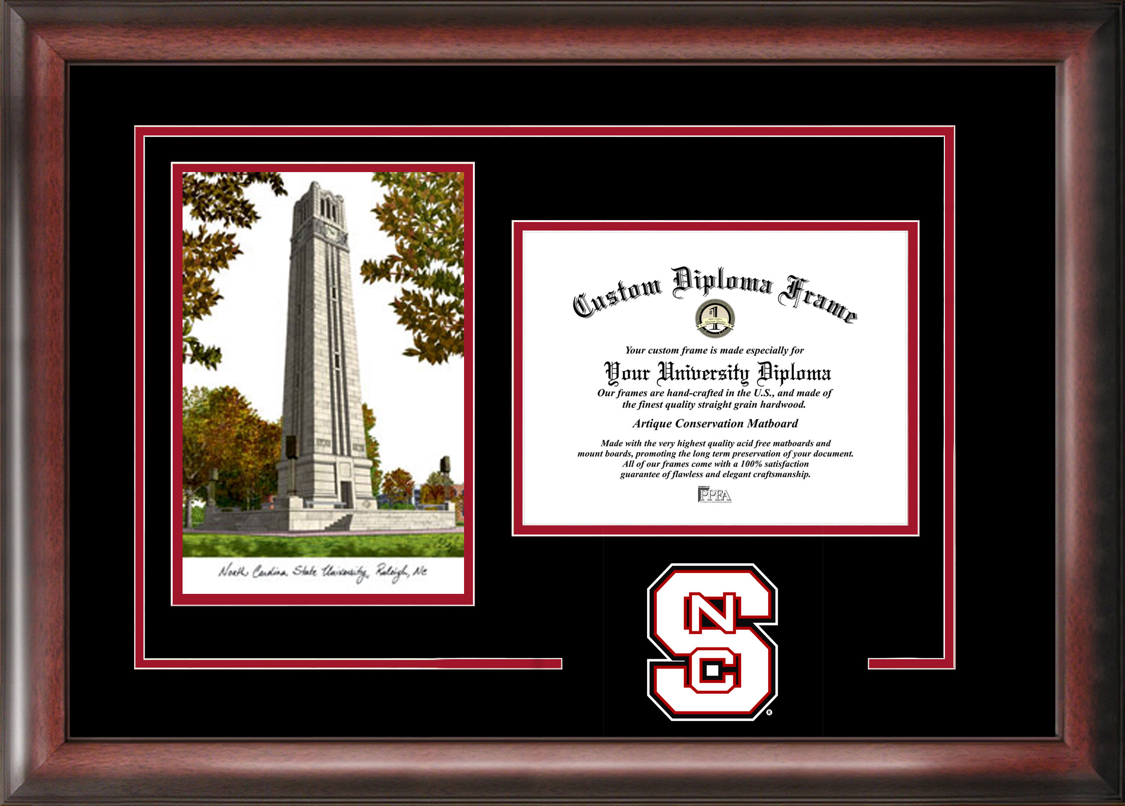 North Carolina State University Spirit  Graduate Frame with Campus Image