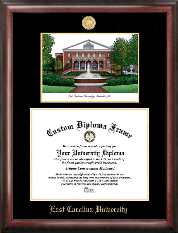 East Carolina University Gold embossed diploma frame with Campus Images lithograph