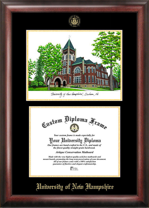 University of New Hampshire Gold embossed diploma frame with Campus Images lithograph