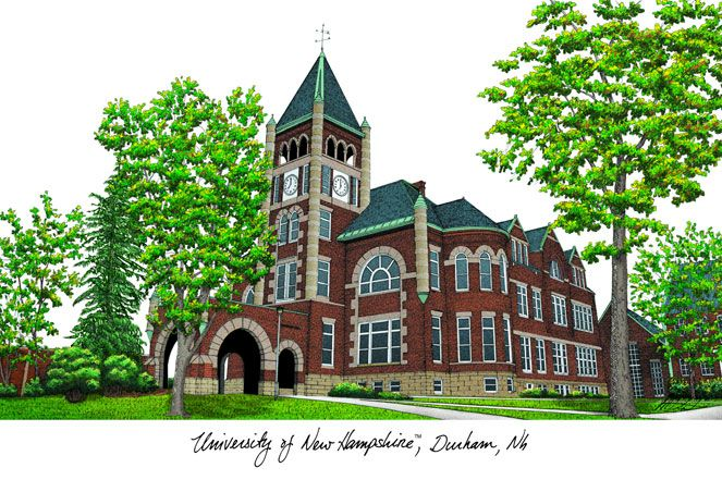 University of New Hampshire Campus Images Lithograph Print