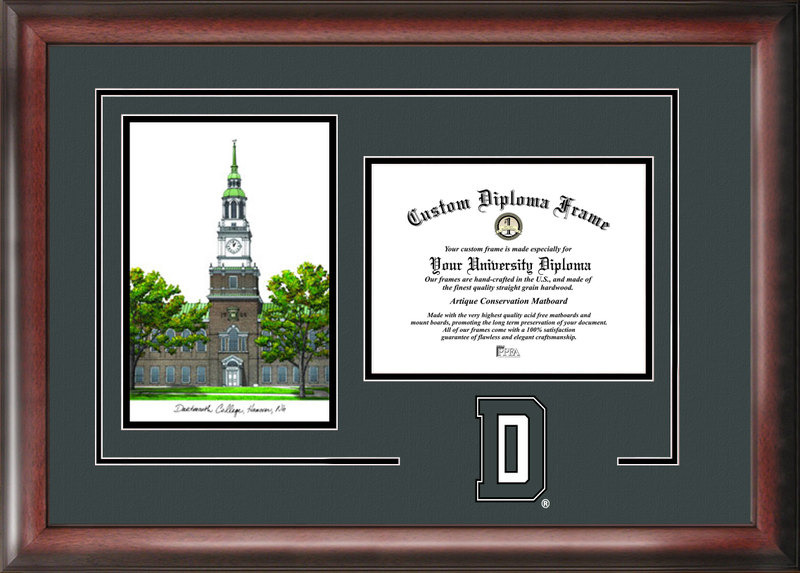 Dartmouth College Gold embossed diploma frame with Campus Images lithograph