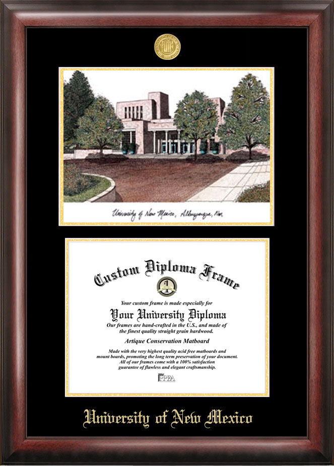 University of New Mexico Gold embossed diploma frame with Campus Images lithograph