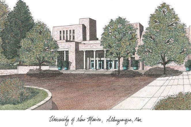University of New Mexico Campus Images Lithograph Print