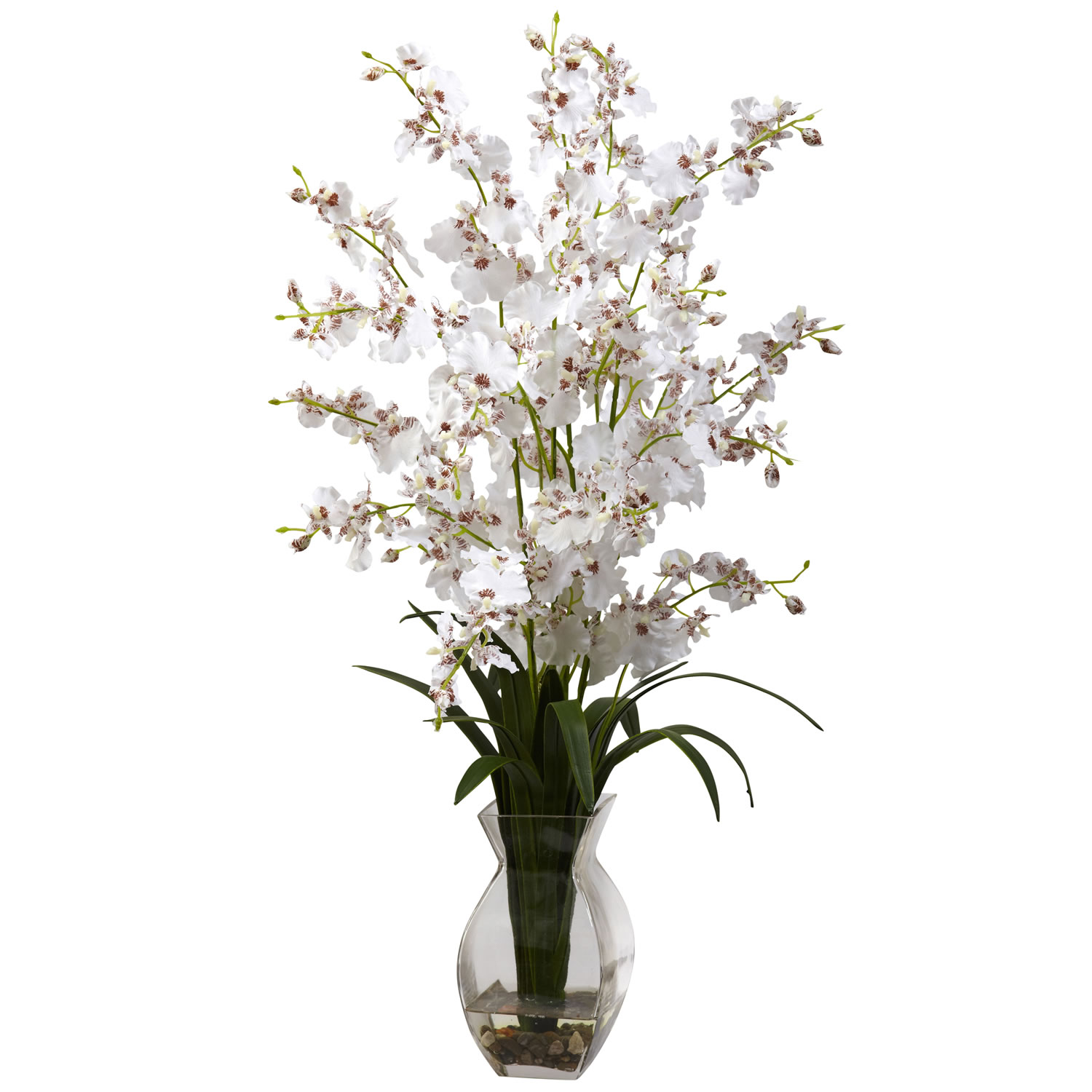 Nearly Natural 1294-WH Dancing Lady Orchid w/Vase Arrangement