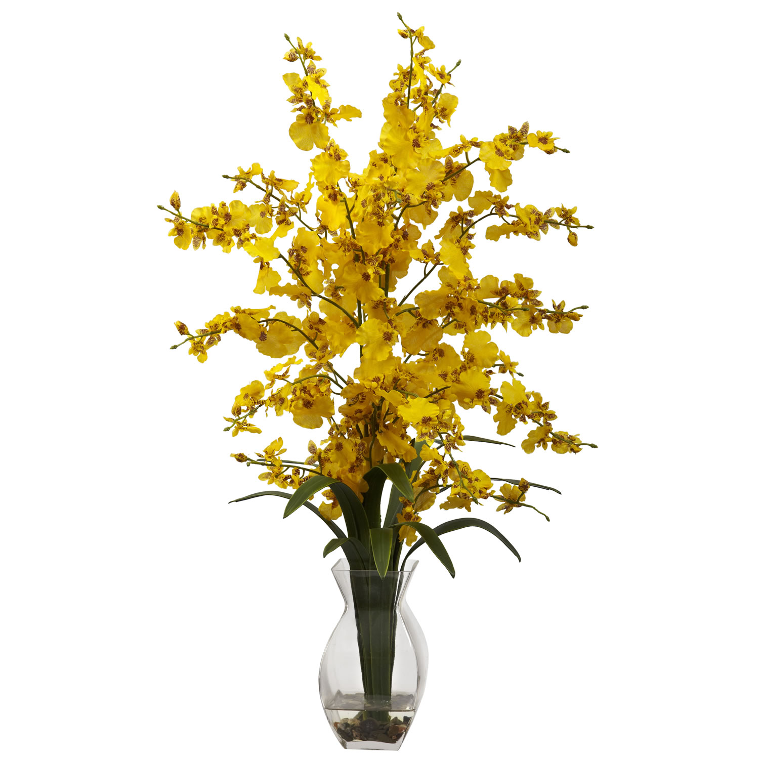 Nearly Natural 1294-YL Dancing Lady Orchid w/Vase Arrangement