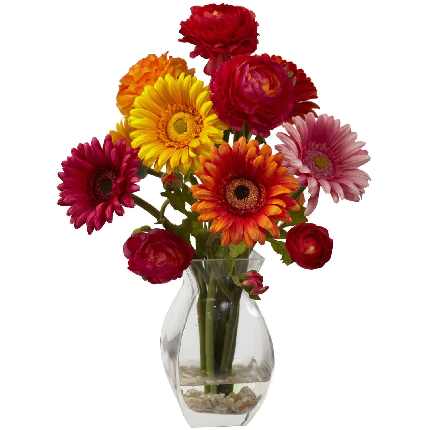 Nearly Natural 1298-AS Gerber Daisy & Ranunculus Delight Arrangement