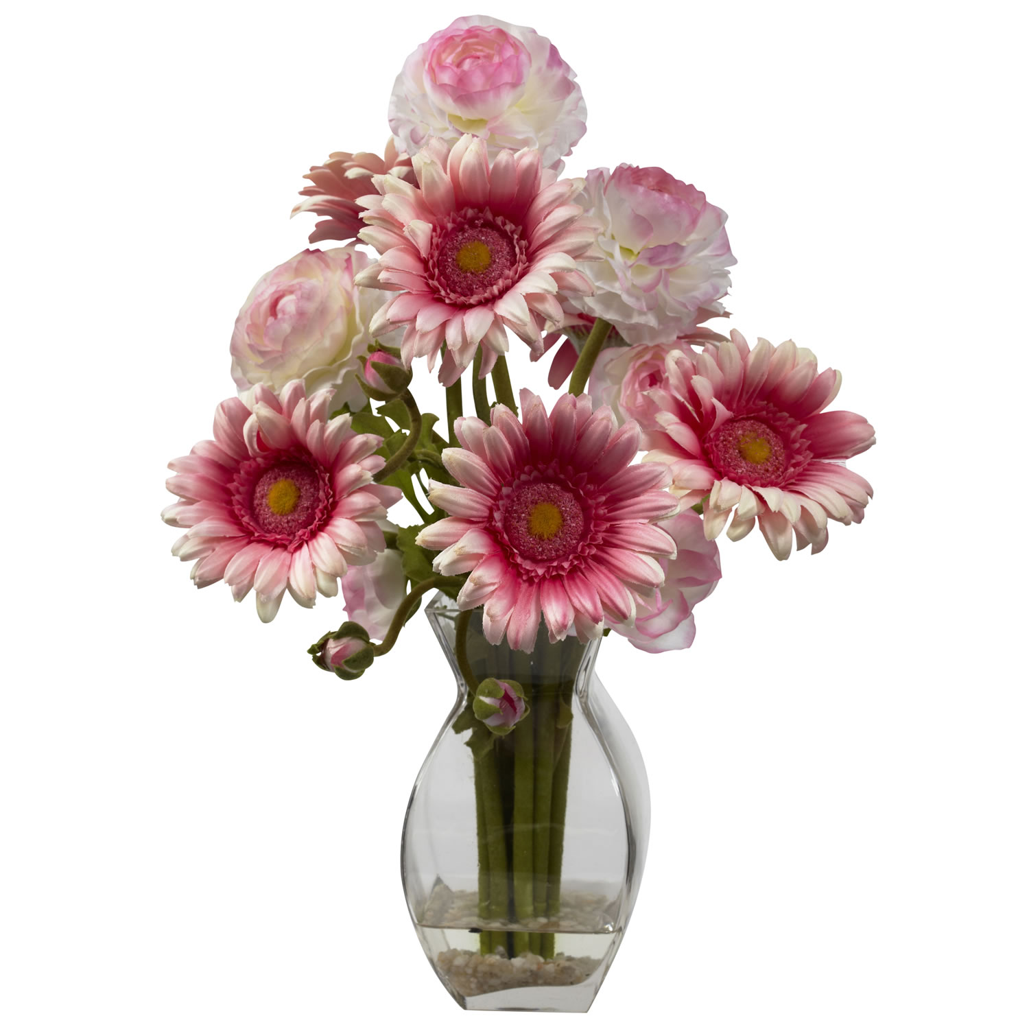 Nearly Natural 1298-PK Gerber Daisy & Ranunculus Delight Arrangement - NN_1298-PK