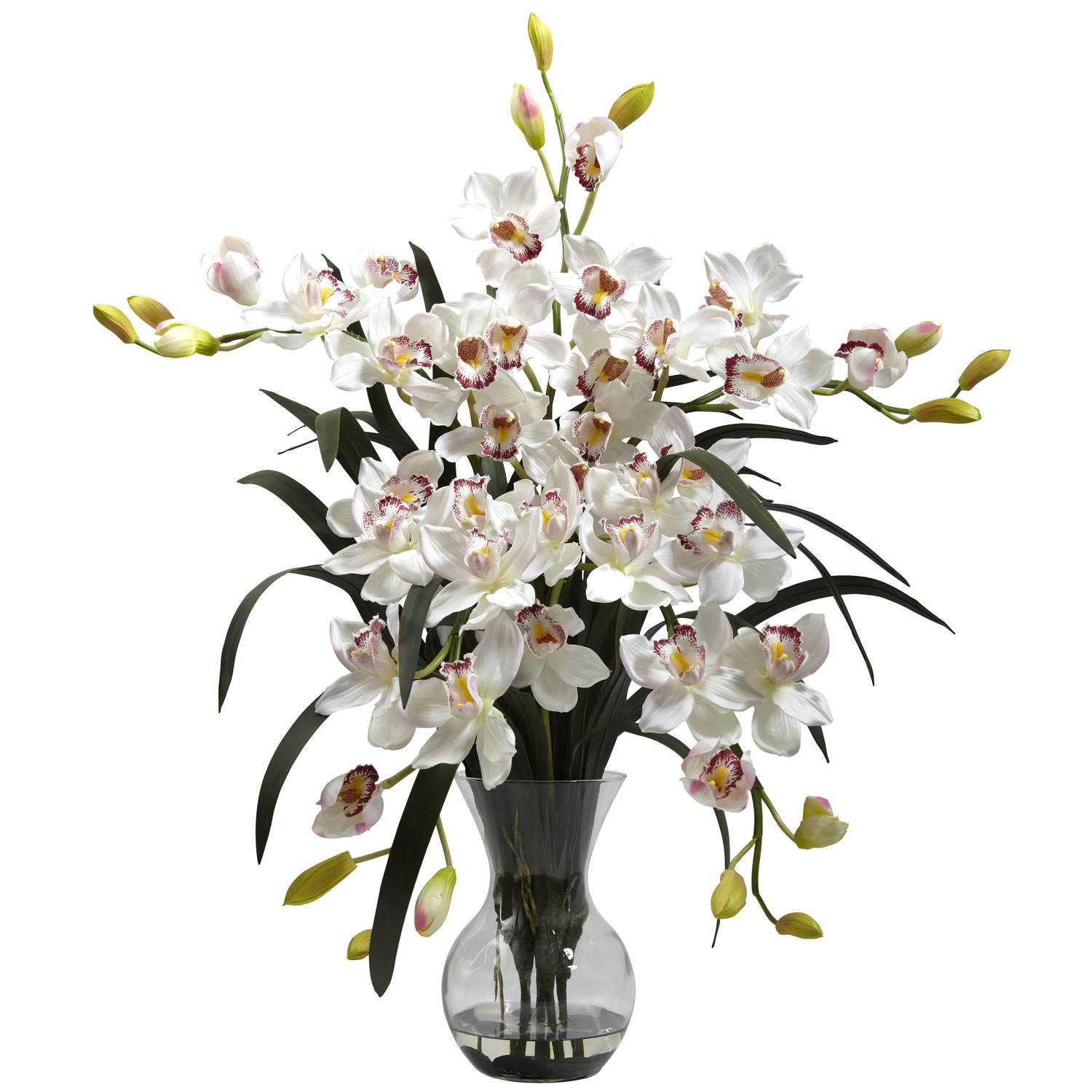 Nearly Natural 1300-WH Large Cymbidium w/Vase Arrangement