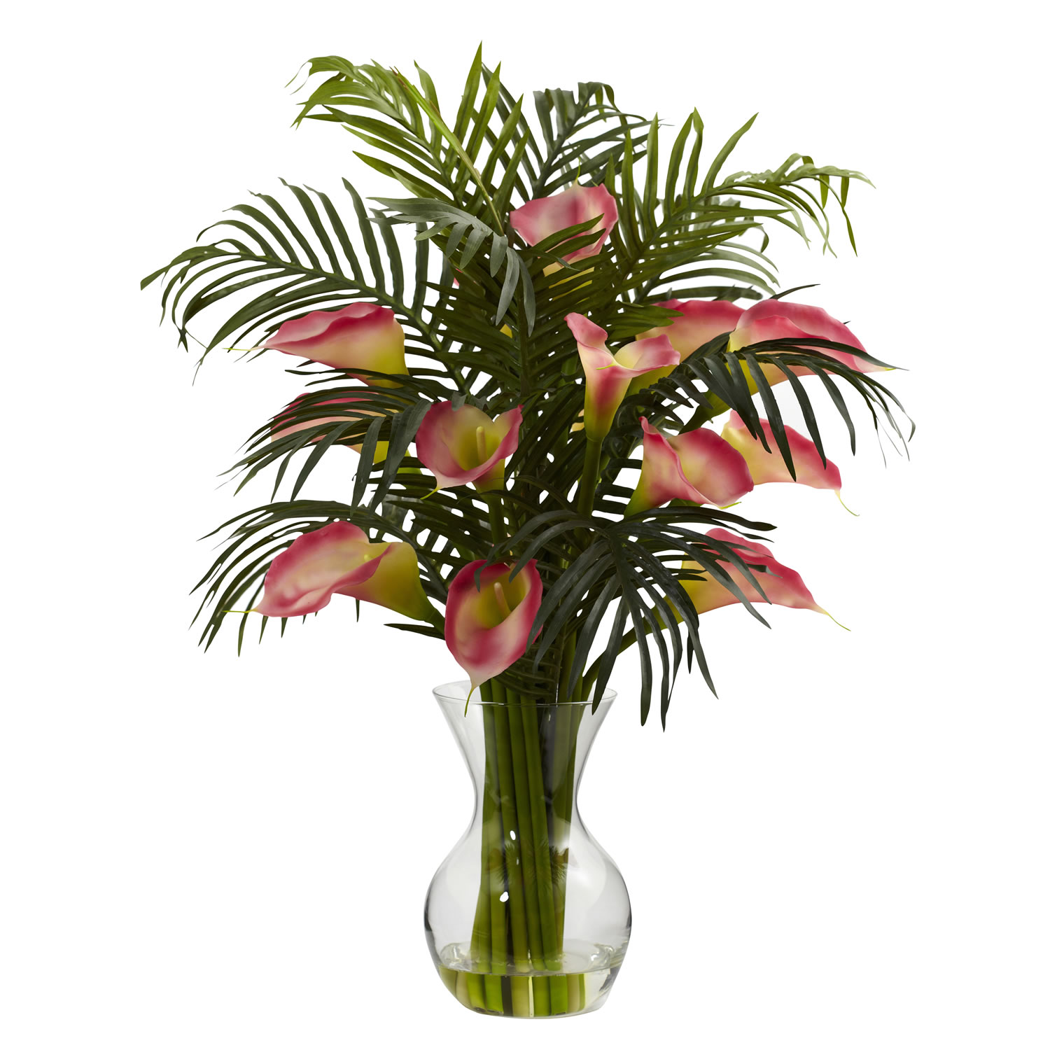 Nearly Natural 1301-PK Calla Lily & Palm Combo