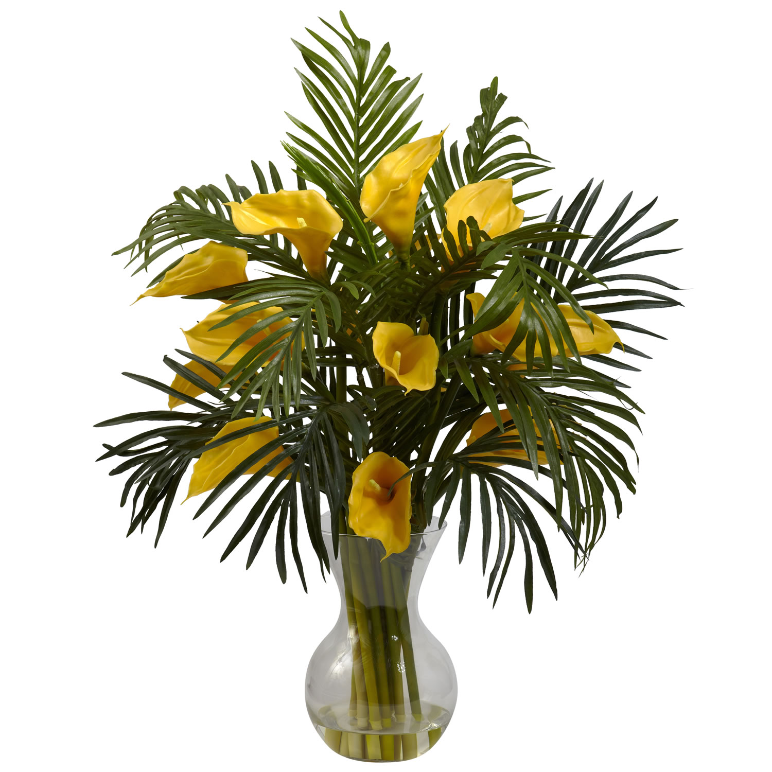 Nearly Natural 1301-YL Calla Lily & Palm Combo