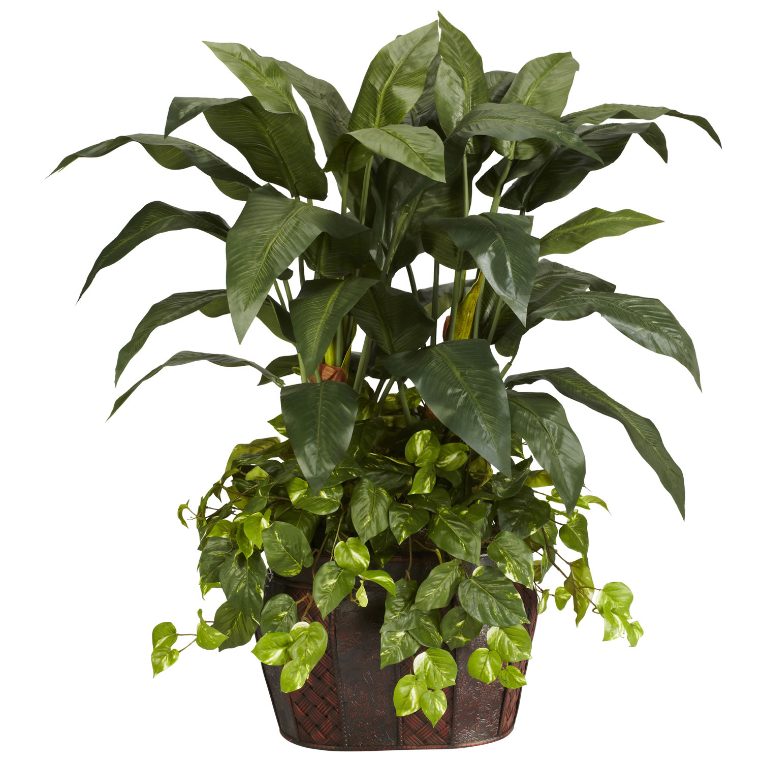 Nearly Natural 6704 Pothos w//Coiled Rope Planter Silk Plant