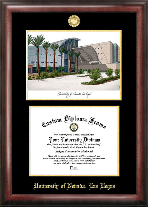 University of Nevada,Las Vegas  Gold embossed diploma frame with Campus Images lithograph