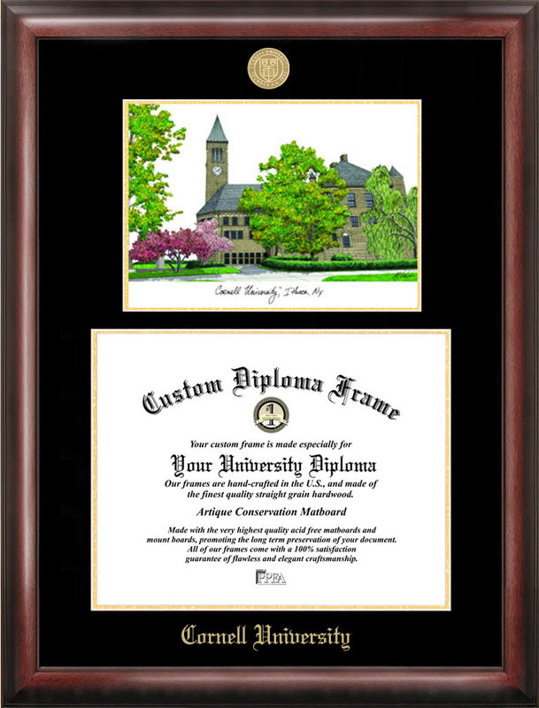 Cornell University Gold embossed diploma frame with Campus Images lithograph