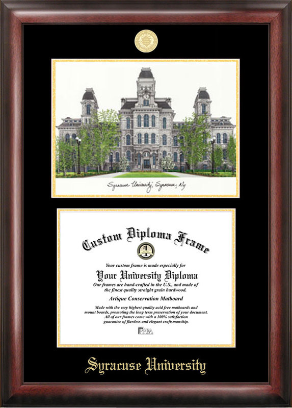 Syracuse University Gold embossed diploma frame with Campus Images lithograph