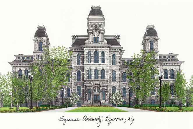 Syracuse  University Campus Images Lithograph Print
