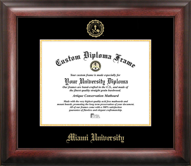 Miami University Ohio Gold Embossed Diploma Frame