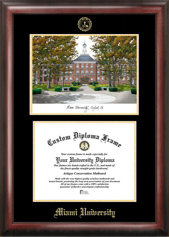 Miami University Ohio Gold embossed diploma frame with Campus Images lithograph