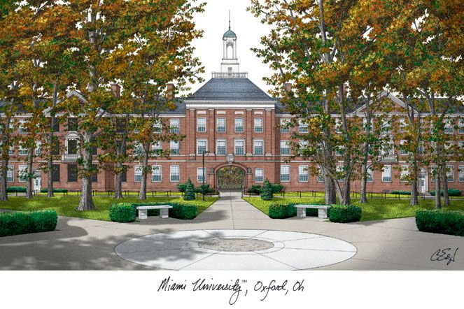 Miami University Ohio Campus Images Lithograph Print