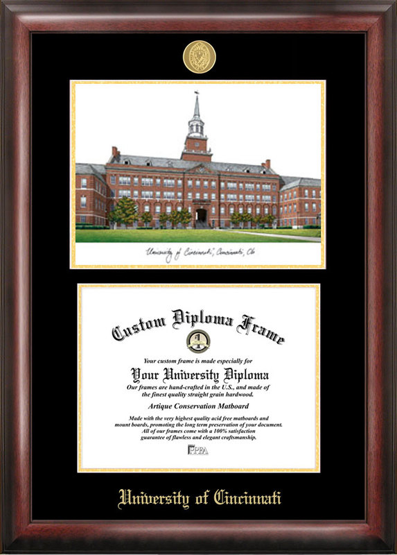 University of Cincinnati Gold embossed diploma frame with Campus Images lithograph