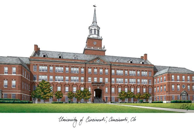 University of Cincinnati Campus Images Lithograph Print