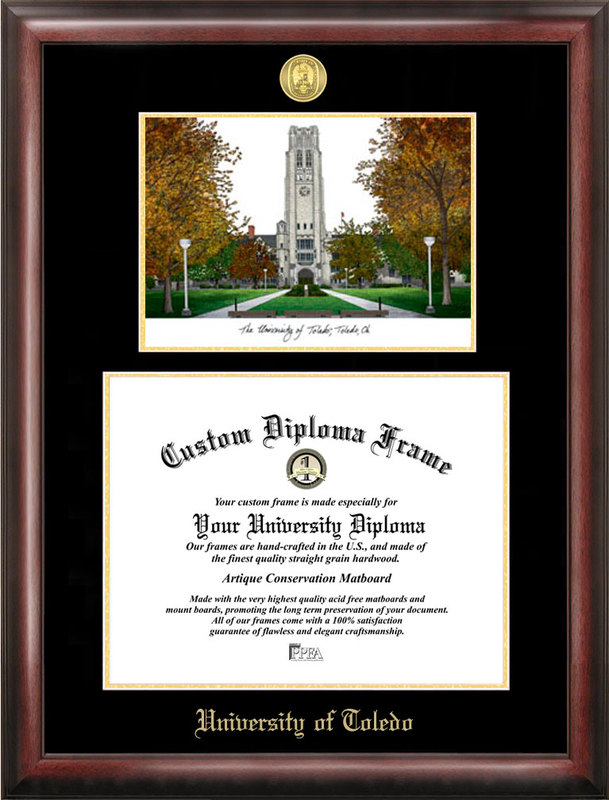 University of Toledo Gold embossed diploma frame with Campus Images lithograph
