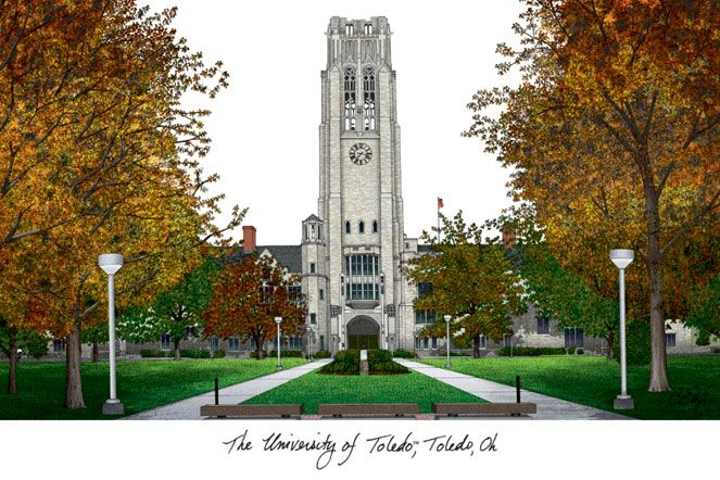 University of Toledo Campus Images Lithograph Print