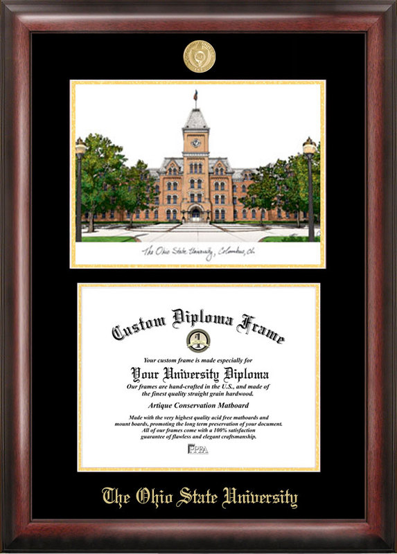 Ohio State  University Gold embossed diploma frame with Campus Images lithograph