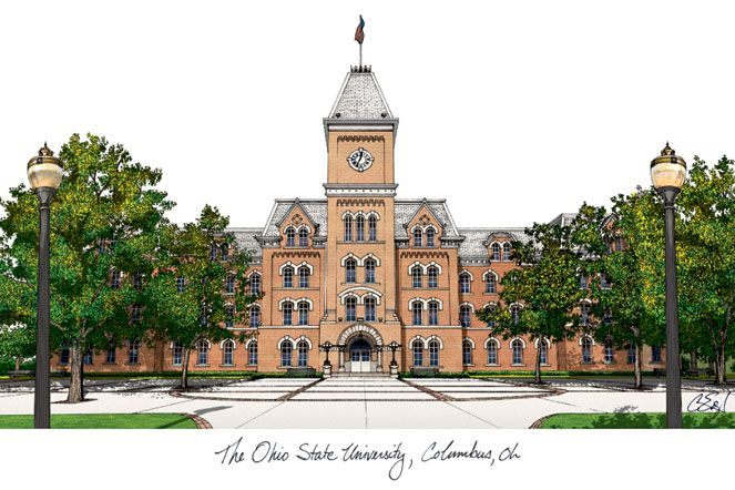 Ohio State  University Campus Images Lithograph Print