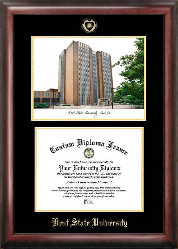 Kent State University Gold embossed diploma frame with Campus Images lithograph