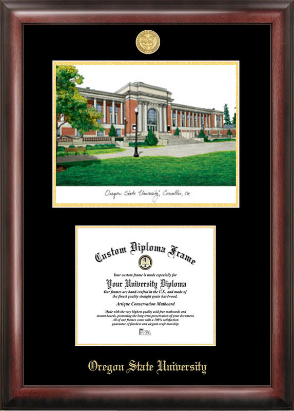 Oregon State University Gold embossed diploma frame with Campus Images lithograph
