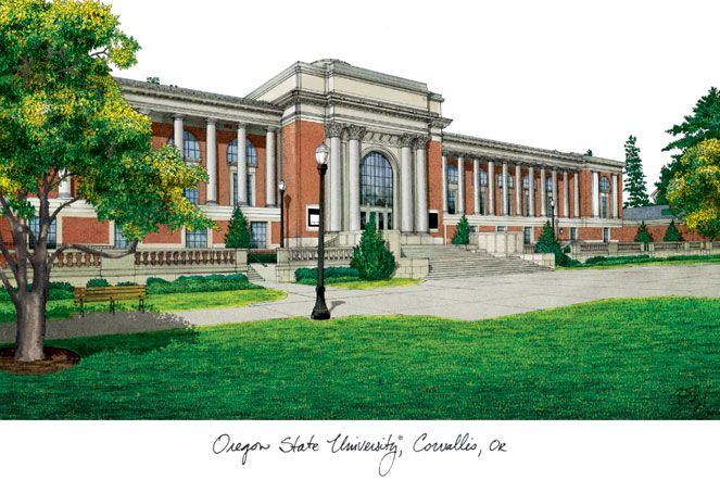 Oregon State University Campus Images Lithograph Print