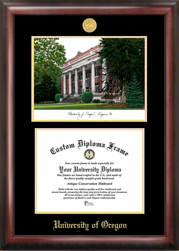 University of Oregon Gold embossed diploma frame with Campus Images lithograph